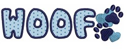 Woof Applique embroidery design