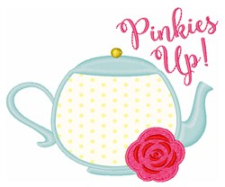 Pinkies Up! Applique embroidery design