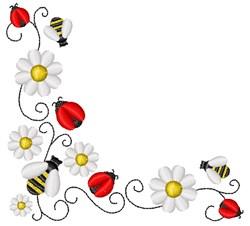 Ladybug & Bumblebee Corner embroidery design