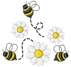 Bumble Bee and Daisies embroidery design