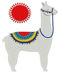 Sun Llama embroidery design