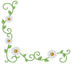 Daisy Flower Corner embroidery design