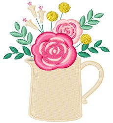 Floral Pitcher embroidery design