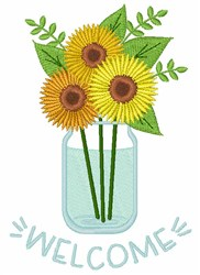 Welcome Sunflowers embroidery design