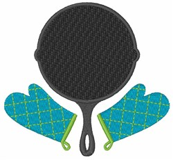 Frying Pan & Mitts embroidery design