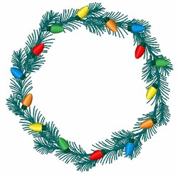 Holiday Lights Wreath embroidery design