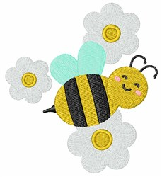 Bumblebee & Daisies embroidery design