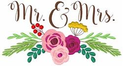 Floral Mr. Mrs. Wedding embroidery design