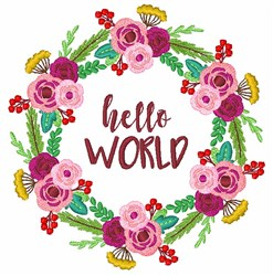 Floral Wreath Hello World embroidery design