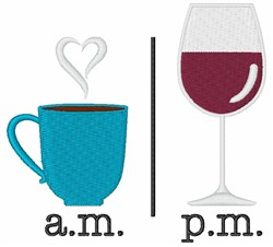 Morning Evening Drinks embroidery design
