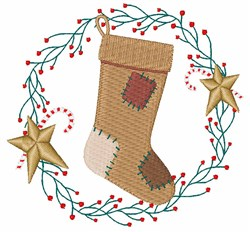 Primitive Stocking embroidery design