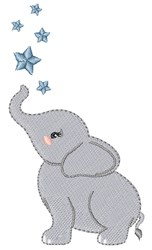 Elephant & Stars embroidery design