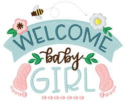 Welcome Baby Girl embroidery design