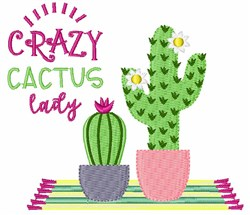 Crazy Cactus Lady embroidery design