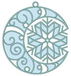 Christmas Moon &  Snowflake embroidery design