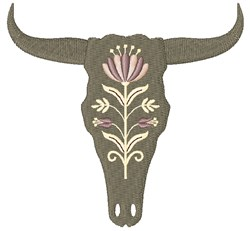 Bohemian Floral Cow Skull embroidery design