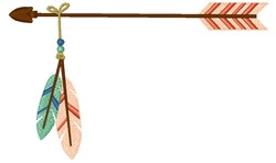 Arrow With Feathers embroidery design