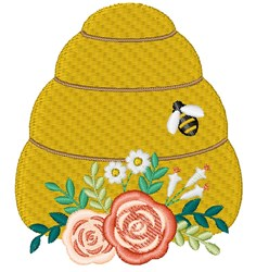 Floral Bee Hive embroidery design