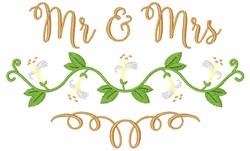 Mr & Mrs Floral embroidery design