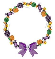 Halloween Candy Wreath embroidery design