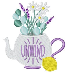 Unwind Teapot embroidery design