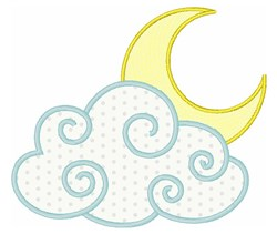 Moon & Cloud embroidery design