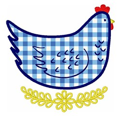 Gingham Hen embroidery design
