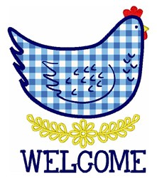Welcome Hen embroidery design