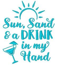 Sun, Sand & Drink embroidery design