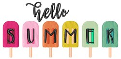 Hello Summer Popsicles embroidery design