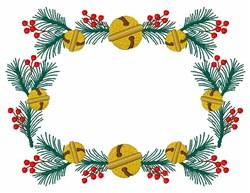 Christmas Holly Fir Bells Frame embroidery design