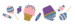 Candy Cupcake Ice Cream Sweets Border embroidery design