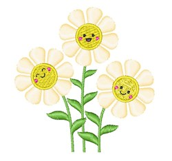 Cute Happy Daisy Flowers embroidery design