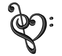 Treble & Bass Clef embroidery design