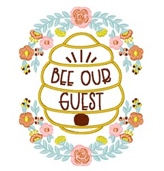 Bee Our Guest embroidery design