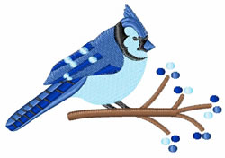 Winter Blue Jay embroidery design