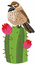 Cactus Wren embroidery design