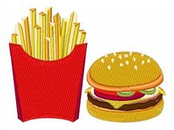 Fries & Hamburger embroidery design