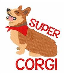 Super Corgi embroidery design