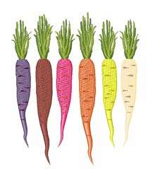 Colorful Carrots embroidery design