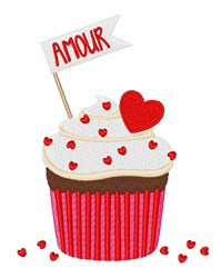 Amour Cupcake embroidery design