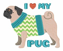 Love My Pug embroidery design