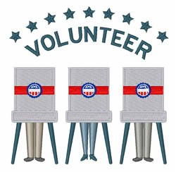 Vote Volunteer embroidery design