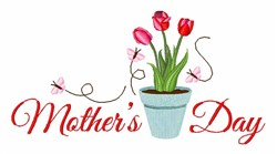 Mothers Day Tulip embroidery design