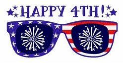 Happy 4th Sunglasses embroidery design