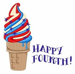 Happy Fourth Ice Cream embroidery design