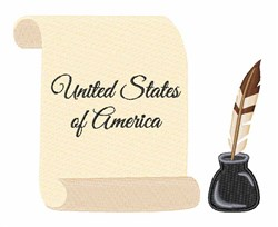 United States Scroll embroidery design