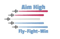 Aim High Planes embroidery design