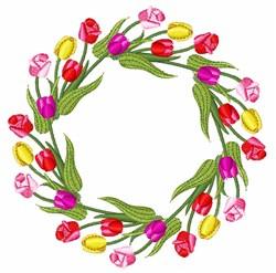 Tulips Wreath embroidery design