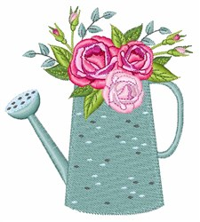 Rose Watering Can embroidery design
